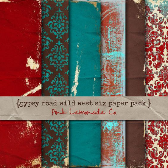 Digital Scrapbook Paper Gypsy Road Wild West Six Pack Red Turquoise Brown