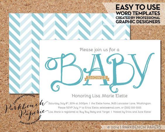 Baby Shower Invitation - Blue Ribbon - DIY Editable Word Template - baby shower word template