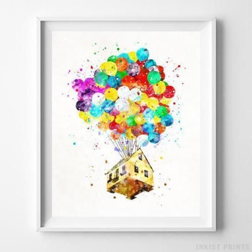 Balloon House Up Wall Art Disney Watercolor Poster Home Decor Baby Room Unframed Bedroom Art Painting Poster Wall Art Watercolor Disney