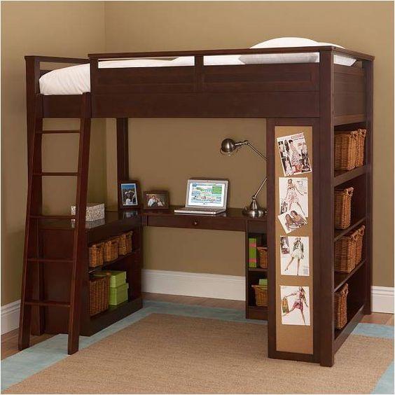 Cucheta con escritorio abajo terminada en madera camas 1 plaza beds pinterest - Cama con escritorio abajo ...