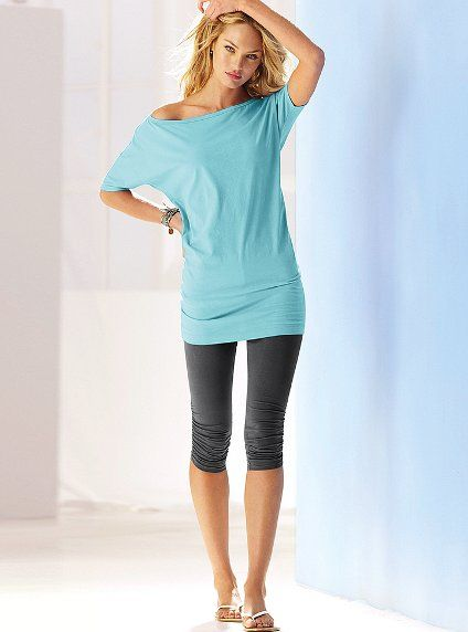 Off-the-shoulder Tunic & Ruched Crop Daily Legging - Victoria's Secret