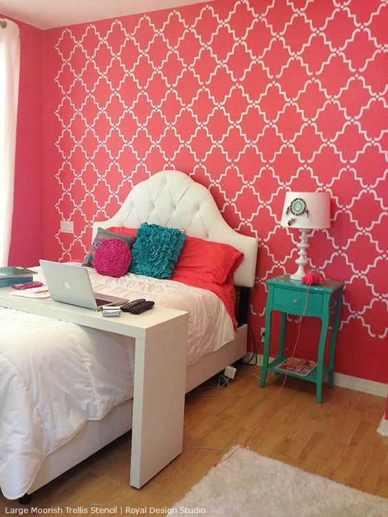 Stencil decorating ideas in the pink allover lace and for Bedroom stencils designs