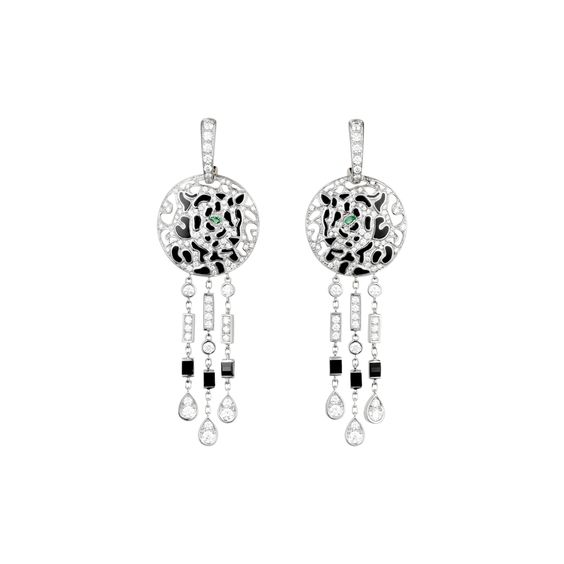 Cartier. Panthere de cartier. White gold, onyx, diamond, emerald & laquer panther earrings...♡