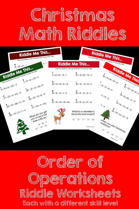 order of operations christmas math riddles. Black Bedroom Furniture Sets. Home Design Ideas