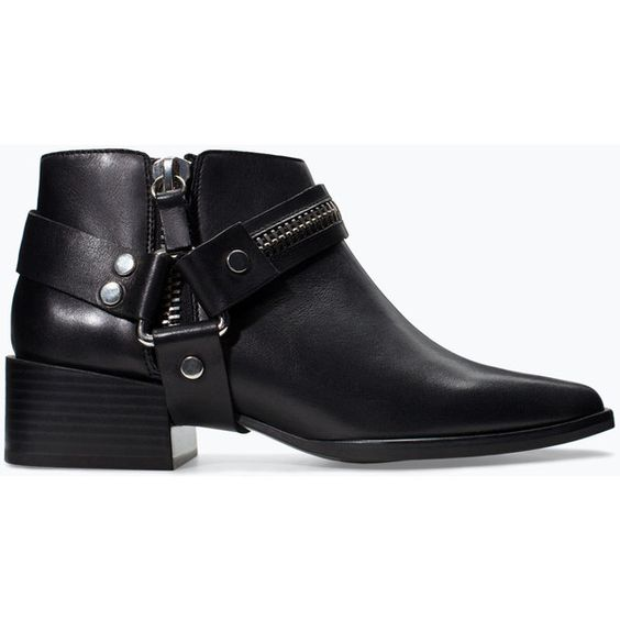 Zara Leather Bootie With Zip And Buckles (€37) ❤ liked on Polyvore