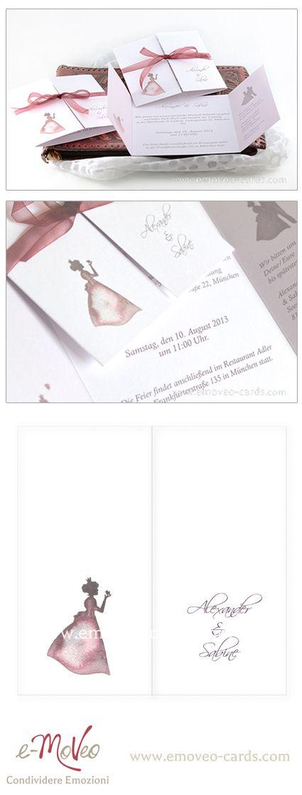 Kiss the prince wedding invitation card Partecipazione matrimonio acquarello con principessa Hochzeitseinladung mit Prinzessin www.emoveo-cards.com