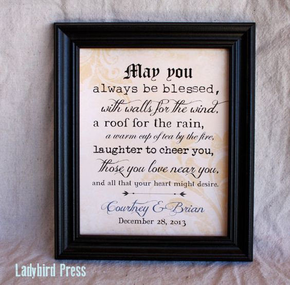 Unique Wedding Gifts Ireland : ... Wedding Gift PrintDecorIrish Blessing- PDFPersonalized