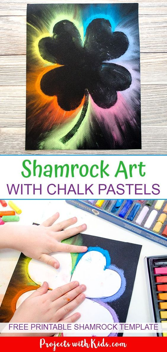 This shamrock art is beautiful and so fun for kids to make! Kids will love using this easy chalk pastel technique to create a brightly colored St. Patrick's Day craft. Free shamrock template included. #shamrockcraft #stpatricksdaycraft #rainbowcrafts #chalkpastels #projectswithkids