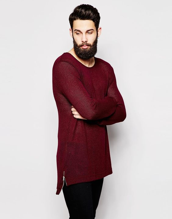 River Island Cut and Sew Sweater with Stepped Hem and Side Zips