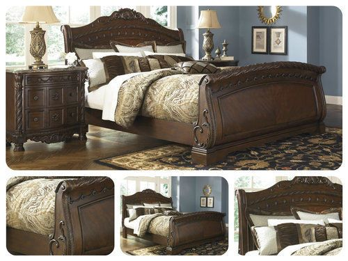 King-Size-Sleigh-Bed-Frame-French-Style-Panel-Wooden-Bedroom-Furniture-Brown-New