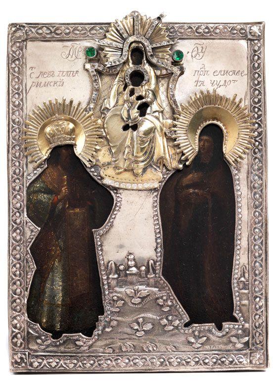Kleine Ikone in einem Schaukasten mit Darstellungen von zwei Heiligen, über ihnen die Gottesmutter mit dem Jesuskind auf einem Thron sitzend. (10021512) (14) ...