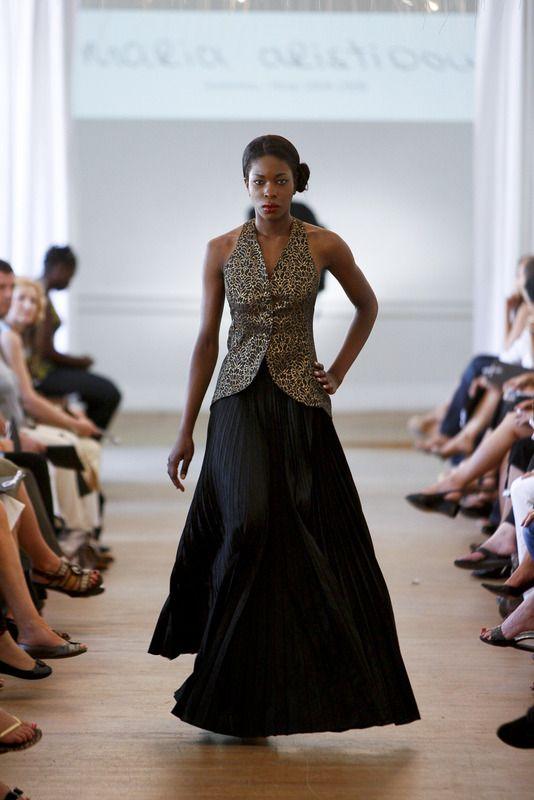 Black silk pleated skirt - Sample size - 160Euros.  Black gold top - Sample size - 130Euros