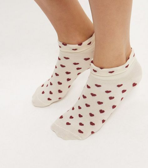 Cream Heart Print Trainer Socks   New Look