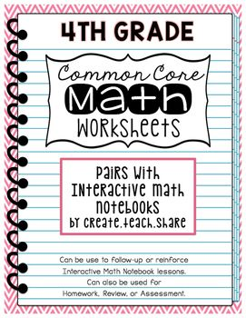 common core math worksheets 4th grade math notebooks student and the o 39 jays. Black Bedroom Furniture Sets. Home Design Ideas