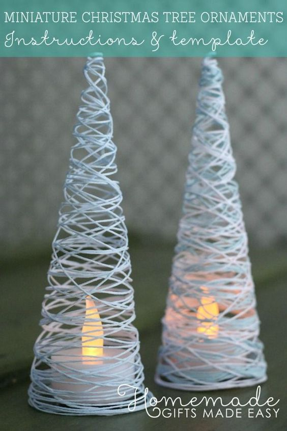 Easy to make - these DIY string Christmas tree have a tea light inside to light them up - use them as a table centerpiece
