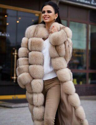 Real Farm Mink Fur Coat Jacket Overcoat Fur Outerwear Chic Trendy Womens Thicken