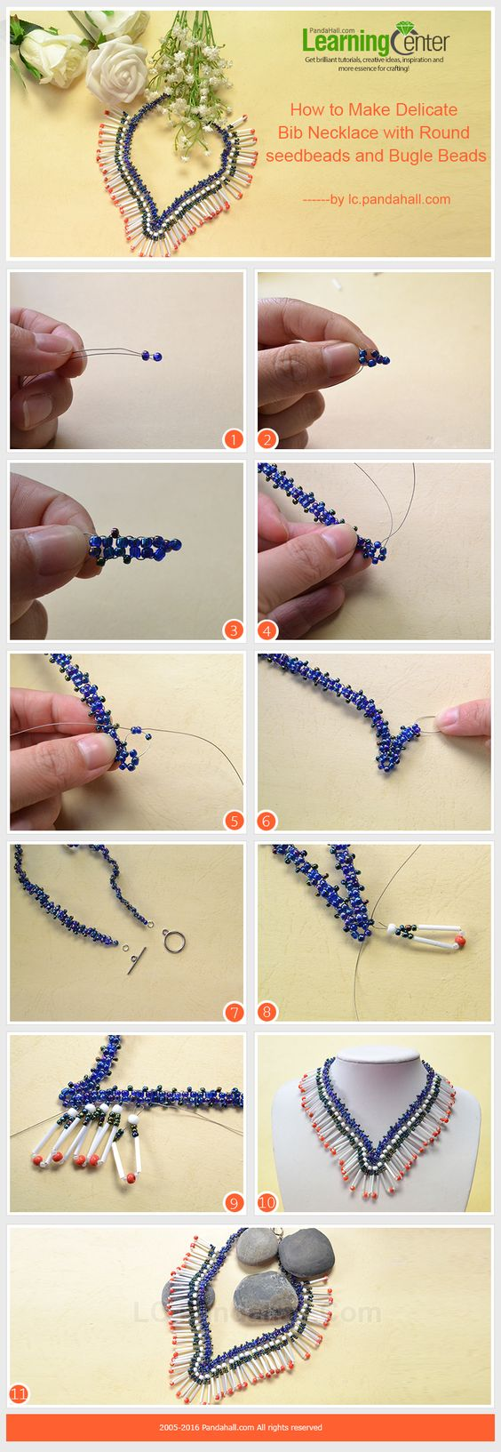 Tutorial on How to Make Delicate Bib Necklace with Round seed beads and Bugle Beads from LC.Pandahall.com #pandahall