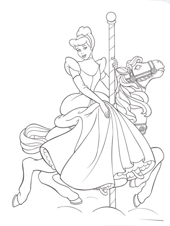 Coloring Pages Of Disney Horses : Fantasyland carousel horse cinderella disneyland