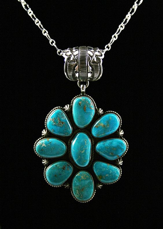 Terry Martinez Rare High Grade Blue Gem Turquoise Cluster Pendant