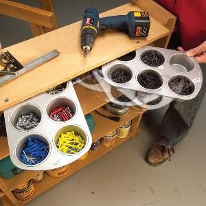 Swing-out muffin tins for workshop storage - would work in a craft room too.
