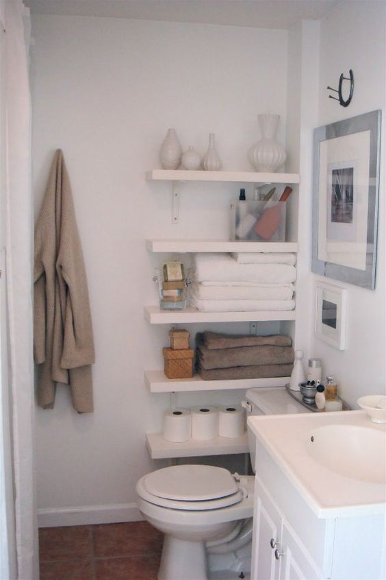 Who says you can't use the small space by the toilet. We love this Toilet Shelving Idea. Bathroom Storage Ideas for Small Spaces; solutions for your everyday family. Bathroom Hacks and Tricks you wish you knew yesterday.