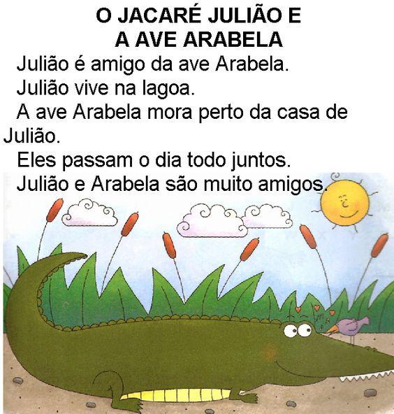 Texto O jacaré Julião e ave Arabela