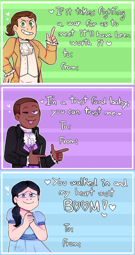 Hamilton valentine cards pack (? by Violet-Madness) |•| I now have my valentines for next year