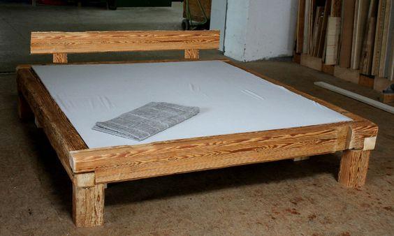Holzbett selber bauen balken  Details zu Bett alte Holzbalken, Altholz, Balkenbett, Balken ...