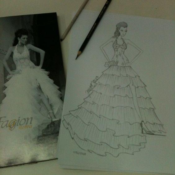 Treinando, desenho de Moda. Vestido de Noiva.
