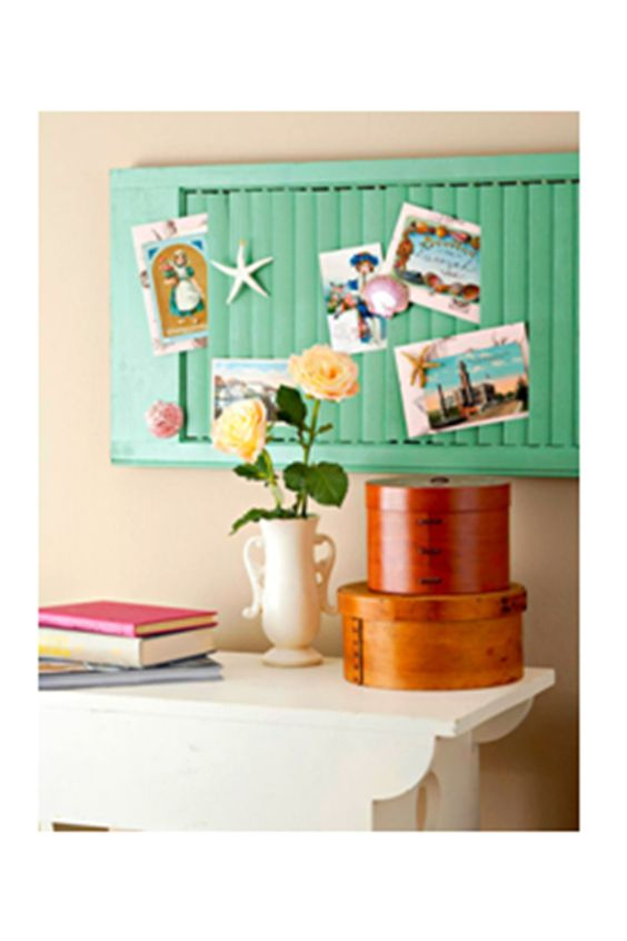 Shutterbug - Cottage style and old shutters are naturals together. Try hanging shutters horizontally for displaying photographs, postcards, letters, and clippings. If years of paint and weathering prevent your louvers from closing tightly enough to hold the papers, use a small piece of double-stick tape to keep items in place.