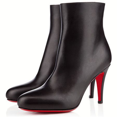 80mm Christian Louboutin Bello Black Leather Ankle Boots