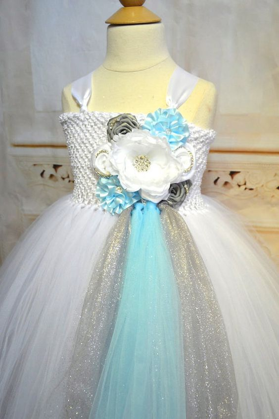 Hey, I found this really awesome Etsy listing at https://www.etsy.com/listing/167738781/white-light-blue-silver-flower-girl-tutu
