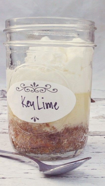 Key lime pie in a jar recipe:  {makes around 10 jars} * small canning jars with lids *2 sleeves of graham crackers  {crushed fine via a mini food or put in plastic bag and use a roller to crush them}    *1 can of sweetened condensed milk *3 egg yolks *1/3 cup of key lime juice { if you can't find key lime juice…regular lime juice works well}*one stick of unsalted sweet cream butter {melted}