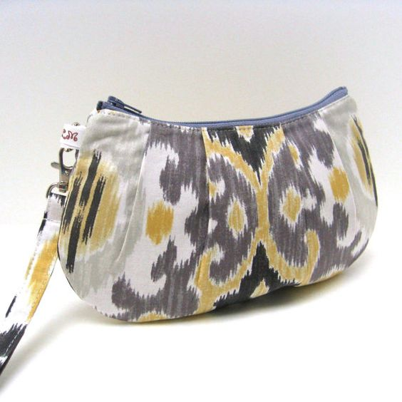 Pleated Wristlet Purse Ikat Stripe in Gray and by LMcreation