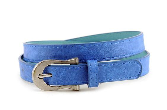 NYfashion101 Ladies Faux Leather Skinny Belt with Brushed Chrome Buckle LBU282