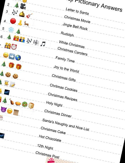 Printable Emoji Quiz With Answers : printable, emoji, answers, Printable, Christmas, Emoji, Pictionary, Christma…, Party, Games, Groups,, Adults,, Ideas, Teens