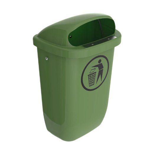 Corbeille papiers poubelle sulo 50 l vert montage mural ou sur poteau 22294 objets for Poubelle de cuisine vert pastel
