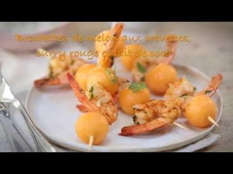 Brochette de melon aux crevettes au curry rouge et lait de coco - Recette SIPMM…