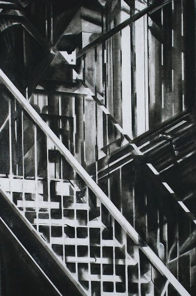 charcoal drawing of new york tenement fire escape ladders.  £295.00