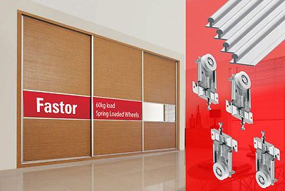 Fastor Sliding Wardrobe Door 2400mmTrack Kit DIY Spring Loaded Wheels (3 door) | eBay