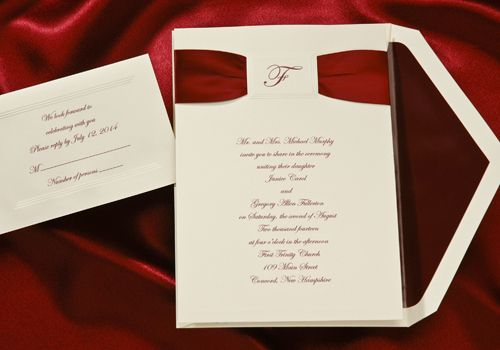 Elegant & Stunning Red Ribbon Wedding Invitation with Traditional Script. #wedding #stationary #invitations