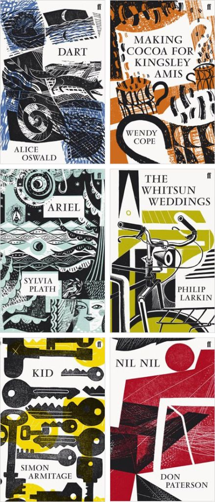 charles shearer and faber's new series of poetry collections | Clive Hicks-Jenkins' Artlog: * Dart by Alice Oswald. Cover by Jonathan Gibbs. * Making Cocoa for Kingsley Amis by Wendy Cope. Cover by Ed Kluz. * Ariel by Sylvia Plath. Cover by Sarah Young. * The Whitsun Weddings by Philip Larkin. Cover by Michael Kirkman. * Kid by Simon Armitage. Cover by Peter Clayton. * Nil, Nil by Don Paterson. Cover by Charles Shearer.: