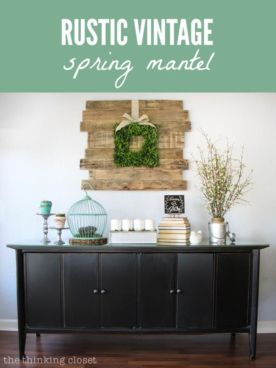 Rustic Vintage Spring Mantel with Balsam Hill's English Boxwood Wreath as centerpiece. Via @Lauren {TheThinkingCloset}