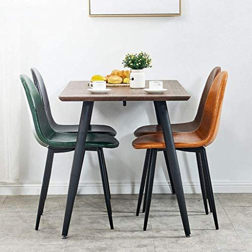 Xqy Home Chair Stool Folding Chair Dining Chairs Eiffel Style Pu Synthetic Leather Cushioned Seat And Meta Dining Chairs Living Room Office Living Room Kitchen