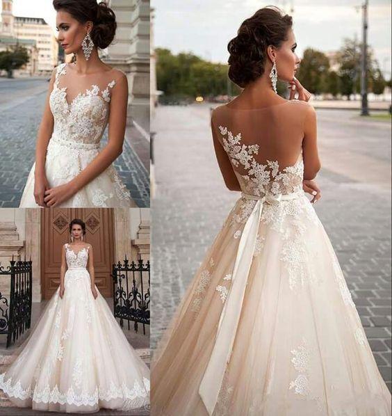 Gunstige Weisse Brautkleid Ruckenfreies Langes Brautkleid A Linie Princess Applique Dress Today Pin In 2020 Pregnant Wedding Dress White Bridal Dresses Lace Wedding Dress Vintage