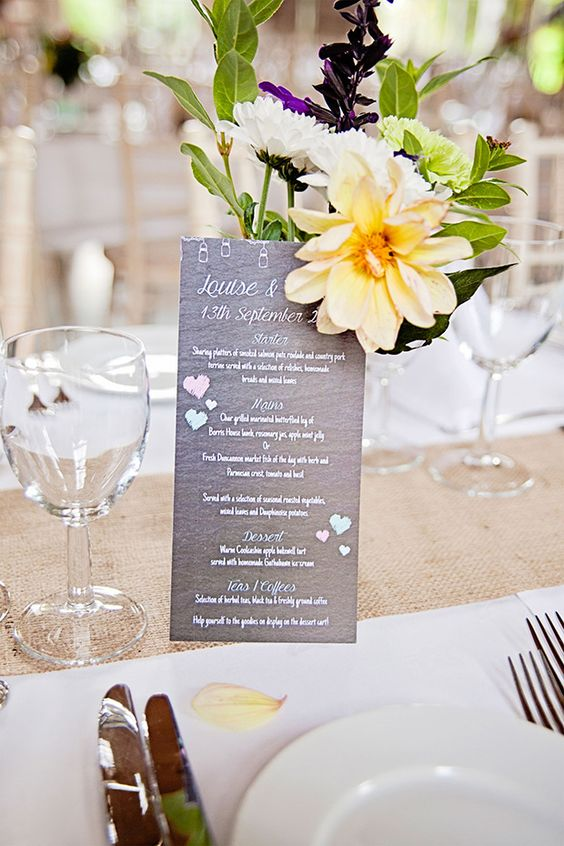bright table florals and chalkboard menus | Ciaran and Louise's perfectly pastel Borris House wedding by Katie Kav | www.onefabday.com