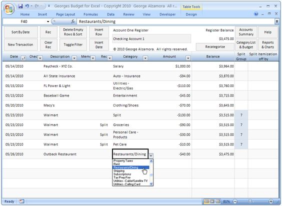 Georges Budget for Excel v70 Checkbook register, Budgeting and - budget spreadsheet excel
