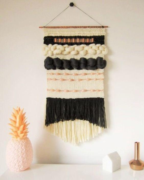TAPISSERIE MURALE DECORATIVE, tissage moderne avec des laines haut de gamme, Mérinos Cuir Cachemire Soie Coton
