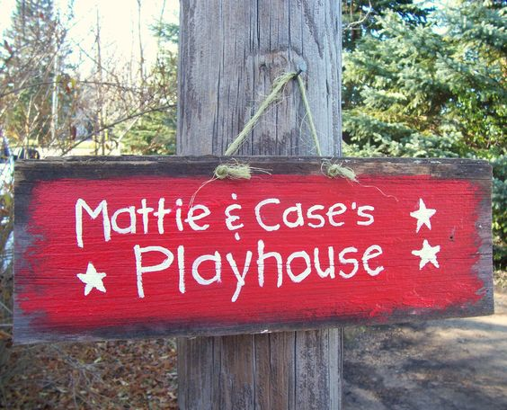 YOUR KIDS PLAYHOUSE 1920's Barn Wood Sign Hand Painted Custom Personalized Clubhouse TreeHouse Childrens Kids Indoor Outdoor Decor. $20.00, via Etsy.