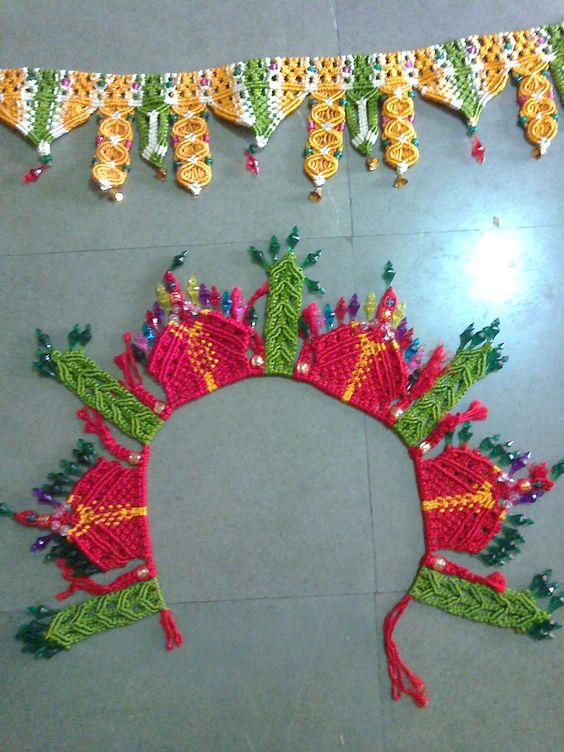 Curtains bunting crochet curtains macrame toran macrame wall handmade